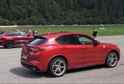 Stelvio Quadrifoglio vs Grand Cherokee TrackHawk: drag race
