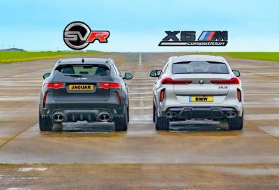 BMW X6M Comp. vs Jaguar F-Pace SVR: biturbo o compressore volumetrico?
